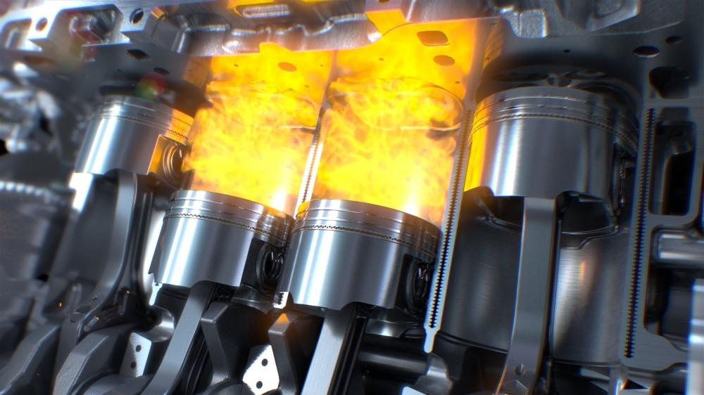 Darstellung Nahaufnahme eines Brennvorgangs im Zylinder