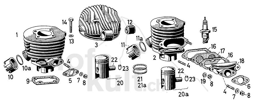 Zylinder 502 50/2 50/3 50/4