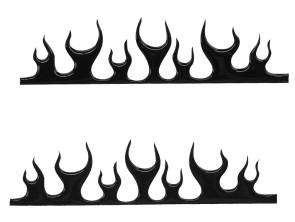 Flammen Gel-Klebersatz schwarz