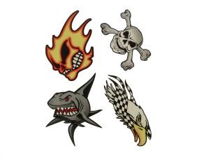 """Aufkleber """"Skull, Shark & Eagle"""" (120x95 mm)"""