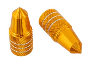 Ventilkappen Bullet randriert gold
