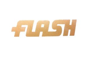 """Flash"" Aufkleber gold"