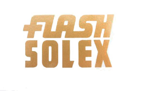 """flash Solex"" Aufkleber gold"