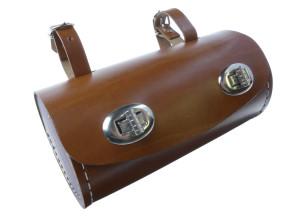 Braune Satteltasche - Tonnenform in Echtleder