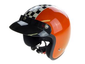 Klassischer Jethelm orange mit Zielflagge