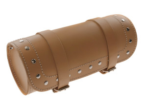 Satteltasche cremefarbene - Tonnenform in Echtleder