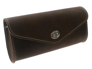 Braune Satteltasche - oval in Echtleder