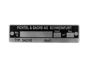 Sachs Motorenschild 1A (geätzt)