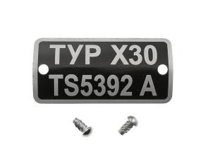 Typenschild X30 TS5392A