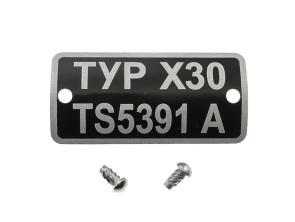 Typenschild X30 TS5391A