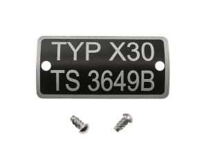 Typenschild X30 TS3649B