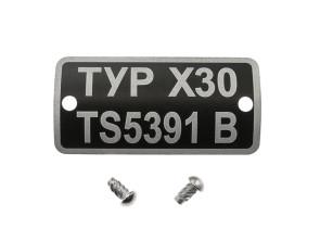 Typenschild X30 TS5391B