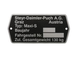 Typenschild Puch Maxi S Austria