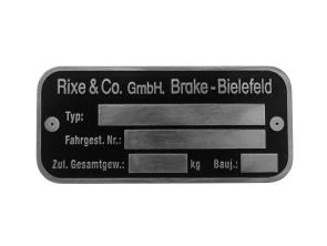 Rixe & Co. GmbH Typenschild
