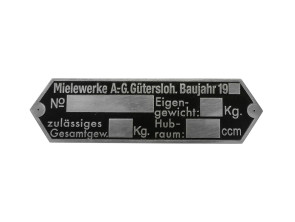 Typenschild Mielewerke A.-G. Gütersloh