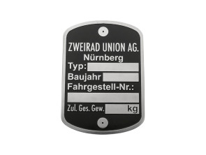 Typenschild Zweirad Union