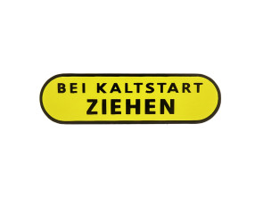 BEI KALTSTART ZIEHEN Aufkleber Puch X30 Velux Seitenverkleidung