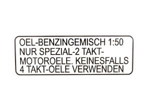 Aufkleber Benzin schwarz (original Puch) 4-zeilig