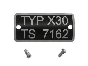 Typenschild X30 TS 7162