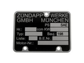 Motorenschild Zündapp