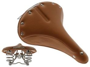 Sattel Leder hellbraun Tonnenfedern *Mofakult-Edition*