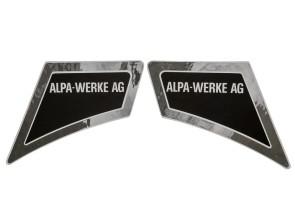Aufkleber Alpa-Werke AG li & re Chrom (Alpa Spezial 3000) NOS