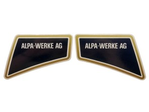 Aufkleber Alpa-Werke AG li & re gold (Alpa Black River) NOS