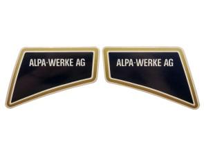 Aufkleber Alpa-Werke AG li & re gold (Alpa Black River) NOS