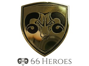 66HEROES Blechschild flach Messing