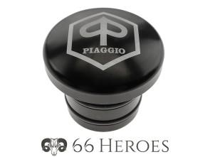 Tankdeckel Alu schwarz Piaggio rund (Piaggio Logo)
