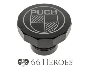 Tankdeckel Alu schwarz Puch eckig (Puch Logo)