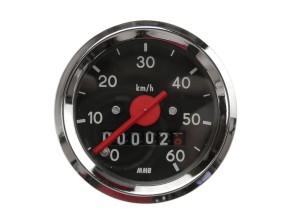 Tacho MMB 60 km/h Ø48 mm (schwarzes Ziffernblatt)