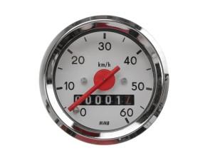 Tacho MMB 60 km/h Ø48 mm (weisses Ziffernblatt)