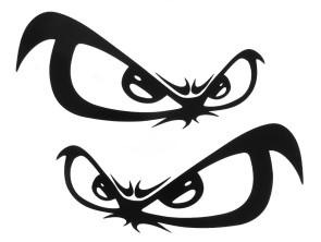 """Aufkleber """"Evil Eye"""" schwarz (110x45 mm)"""