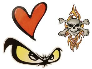 """Aufkleber """"Skull, Heart & Evil eye"""" (120x95 mm)"""