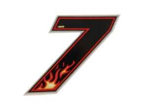 Aufkleber Number 7 Flame (Höhe 65 mm)
