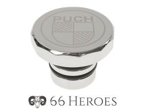 Tankdeckel Alu Chrom Puch eckig (Puch Logo)