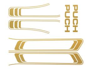 Puch Maxi Aufkleber Set gold matt (1A Qual.)