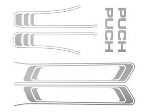 Puch Maxi Aufkleber Set silber (1A Qual.)