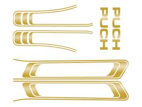 Puch Maxi Aufkleber Set gold glänzend (1A Qual.)