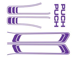 Puch Maxi Aufkleber Set violett (1A Qual.)