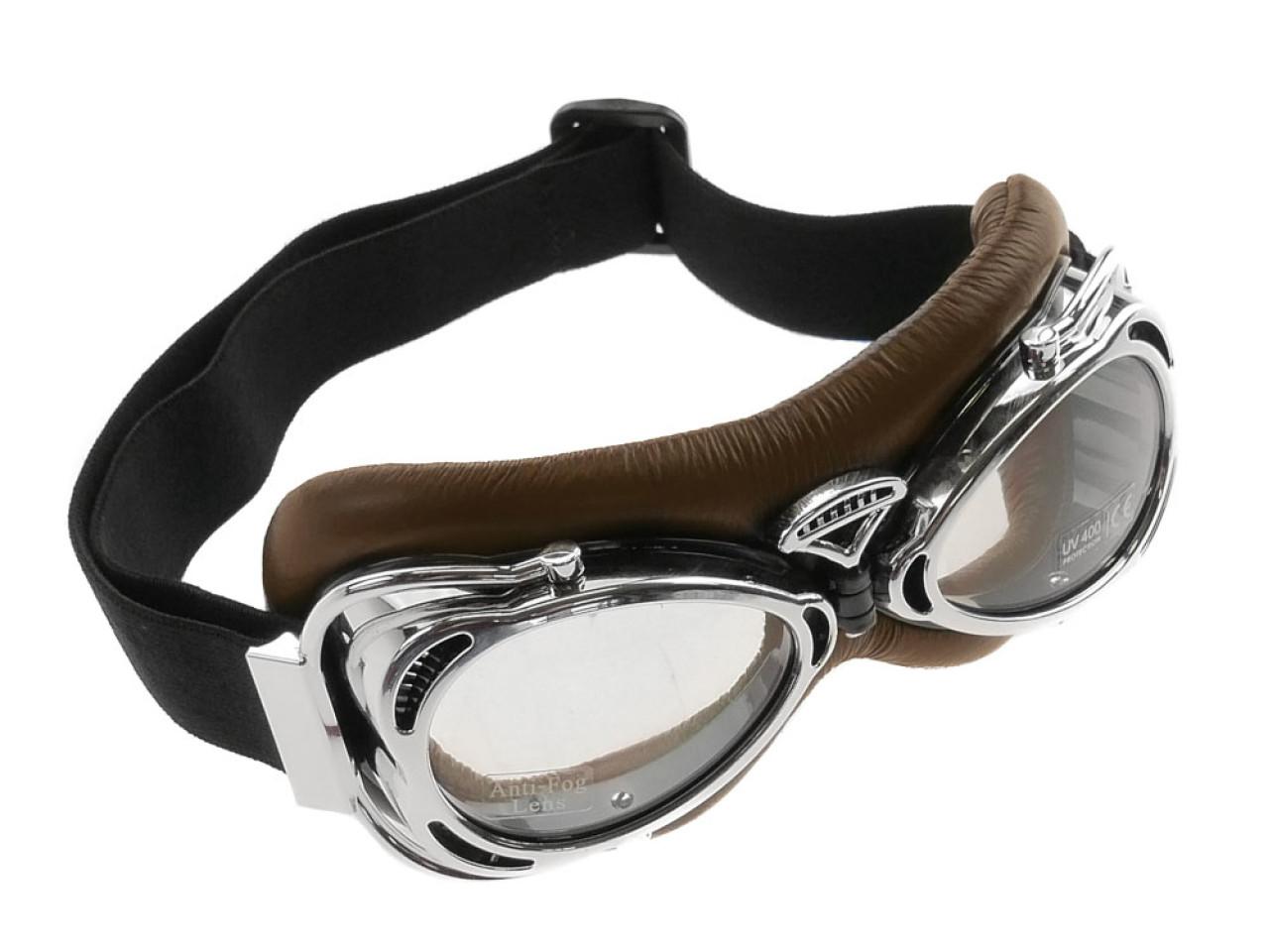 fliegerbrille vintage braun helm brille bekleidung. Black Bedroom Furniture Sets. Home Design Ideas