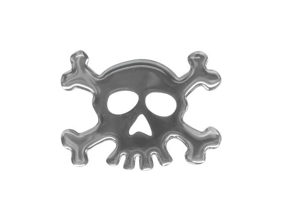 Chrom Totenkopf Gelkleber 3D
