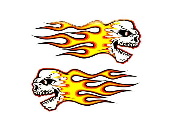 Totenkopf mit Flammen Kleberbogen