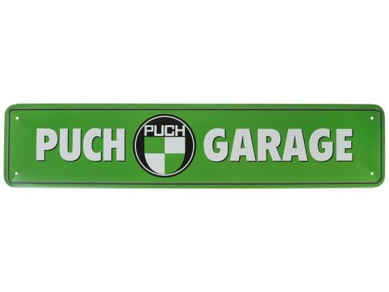 Blechschild «Puch Garage» grün 46 x 10 cm