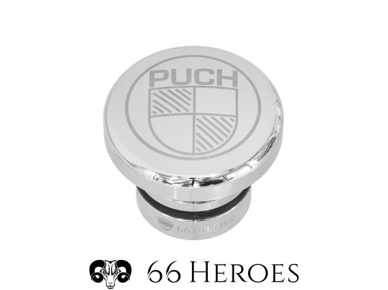 Tankdeckel rund Alu Chrom Puch Maxi (Puch Logo)