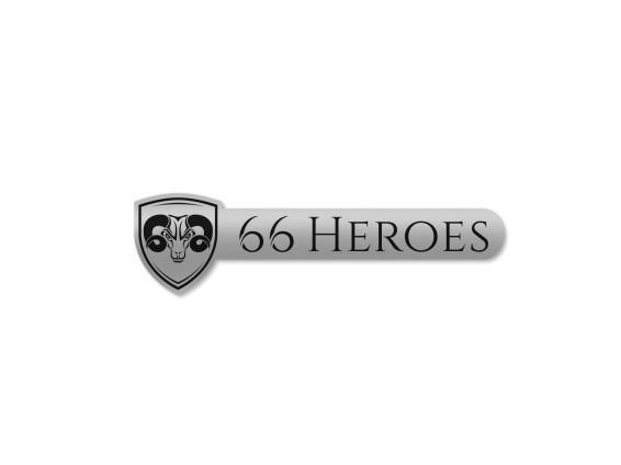Aufkleber «66Heroes» 60 x 16 mm Chrom