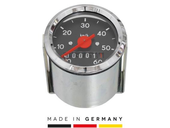 Tacho MMB 60 km/h Ø 48 mm (schwarzes Ziffernblatt)