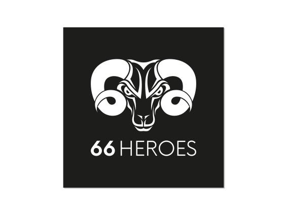 Aufkleber «66Heroes» 60 x 60 mm schwarz