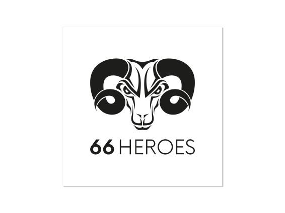 Aufkleber «66Heroes» 60 x 60 mm weiss